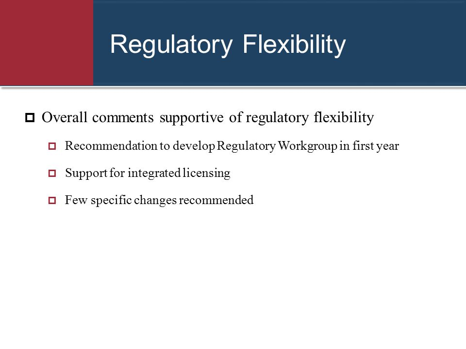 Regulatory Flexibility  Overall comments supportive of regulatory flexibility  Recommendation to develop Regulatory Workgroup in first year  Suppor