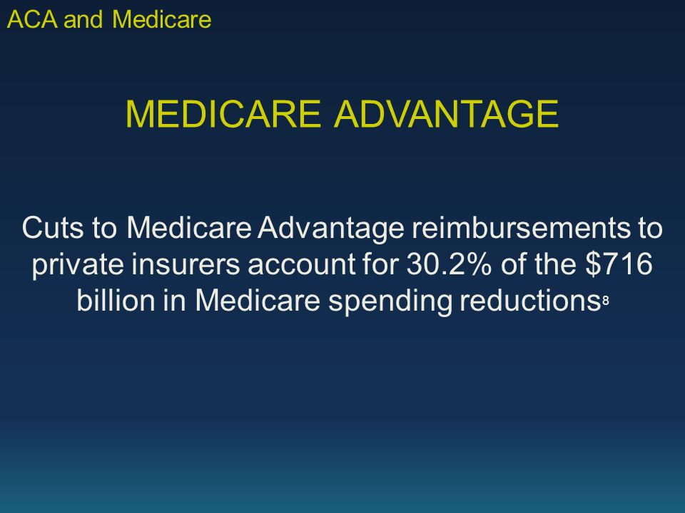 MEDICARE ADVANTAGE Cuts to Medicare Advantage reimbursements to private insurers account for 30.2% of the $716 billion in Medicare spending reductions 8 ACA and Medicare
