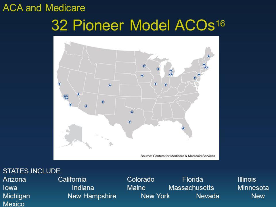 32 Pioneer Model ACOs 16 STATES INCLUDE: ArizonaCaliforniaColorado Florida Illinois IowaIndianaMaineMassachusetts Minnesota Michigan New Hampshire New