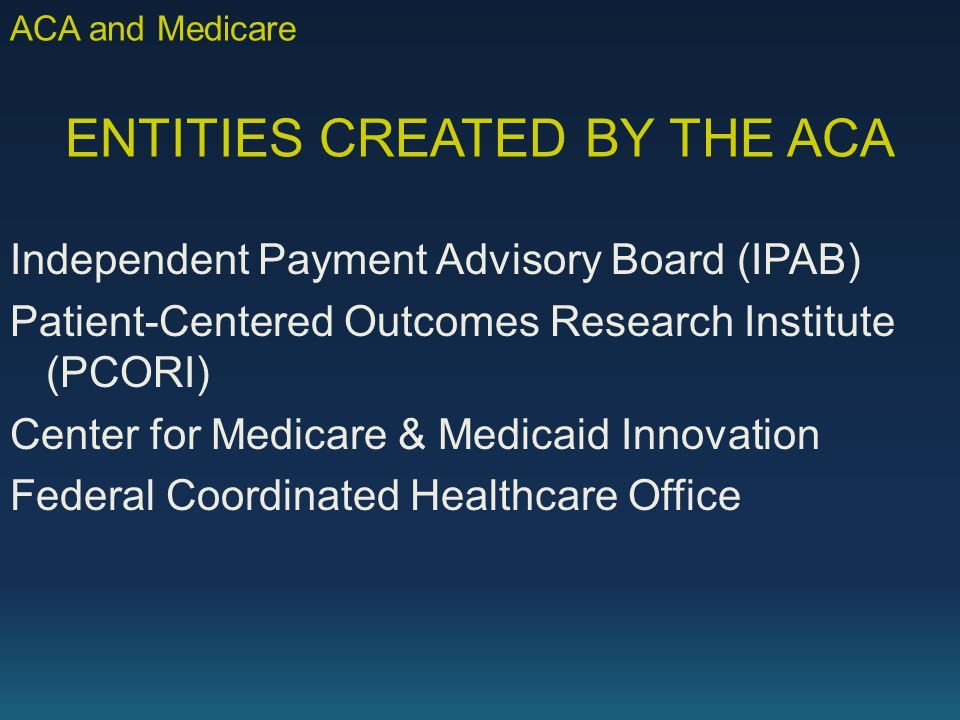 ENTITIES CREATED BY THE ACA Independent Payment Advisory Board (IPAB) Patient-Centered Outcomes Research Institute (PCORI) Center for Medicare & Medicaid Innovation Federal Coordinated Healthcare Office ACA and Medicare