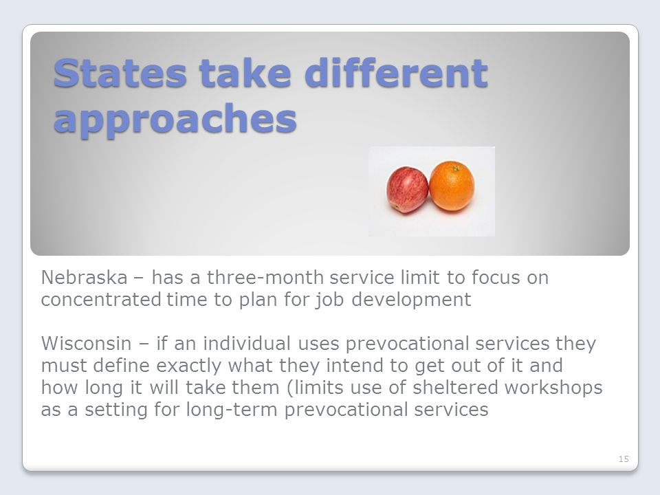 States take different approaches Nebraska – has a three-month service limit to focus on concentrated time to plan for job development Wisconsin – if an individual uses prevocational services they must define exactly what they intend to get out of it and how long it will take them (limits use of sheltered workshops as a setting for long-term prevocational services 15