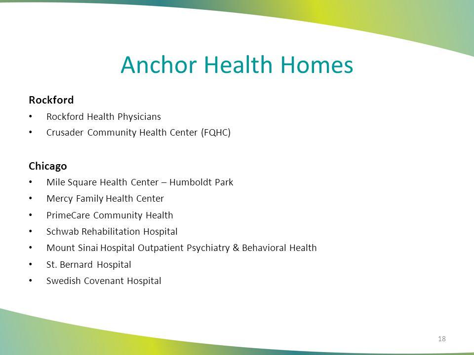 Anchor Health Homes Rockford Rockford Health Physicians Crusader Community Health Center (FQHC) Chicago Mile Square Health Center – Humboldt Park Merc