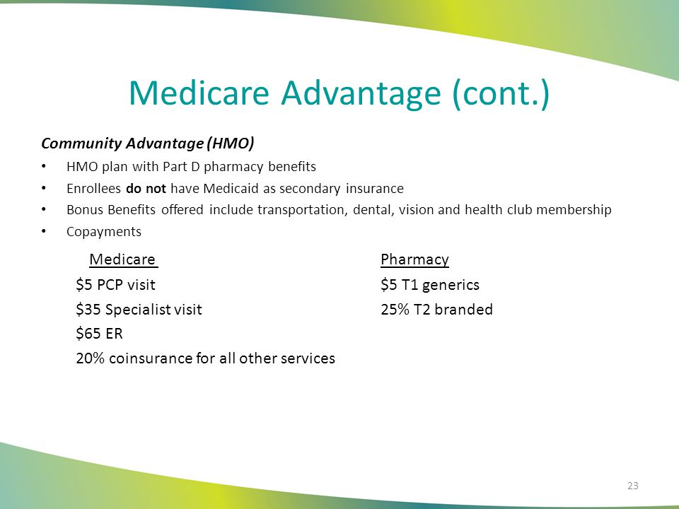 Medicare Advantage (cont.) Community Complete (DSNP) HMO plan that includes Medicaid and Part D pharmacy benefits Enrollees qualify for both Medicare and Medicaid ICP Enrollees who age into Medicare can choose this plan to remain with CCAI and continue with their care uninterrupted Bonus Benefits include transportation, dental, vision, and health club membership There are no copayments for medical services for DSNP Enrollees.