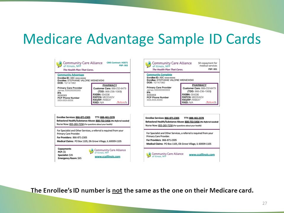 Medicare Advantage Sample ID Cards The Enrollee's ID number is not the same as the one on their Medicare card. 27
