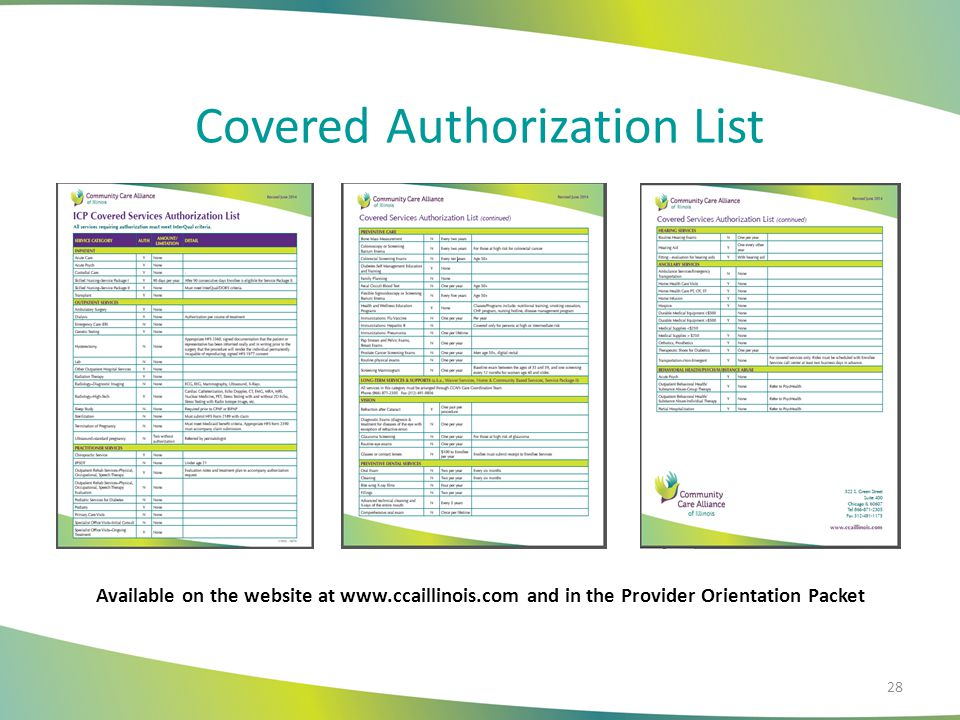 Covered Authorization List Available on the website at www.ccaillinois.com and in the Provider Orientation Packet 28