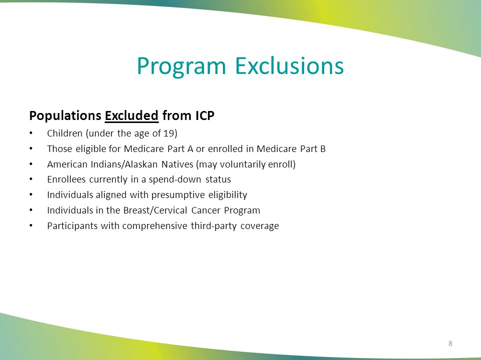 Program Exclusions Populations Excluded from ICP Children (under the age of 19) Those eligible for Medicare Part A or enrolled in Medicare Part B Amer