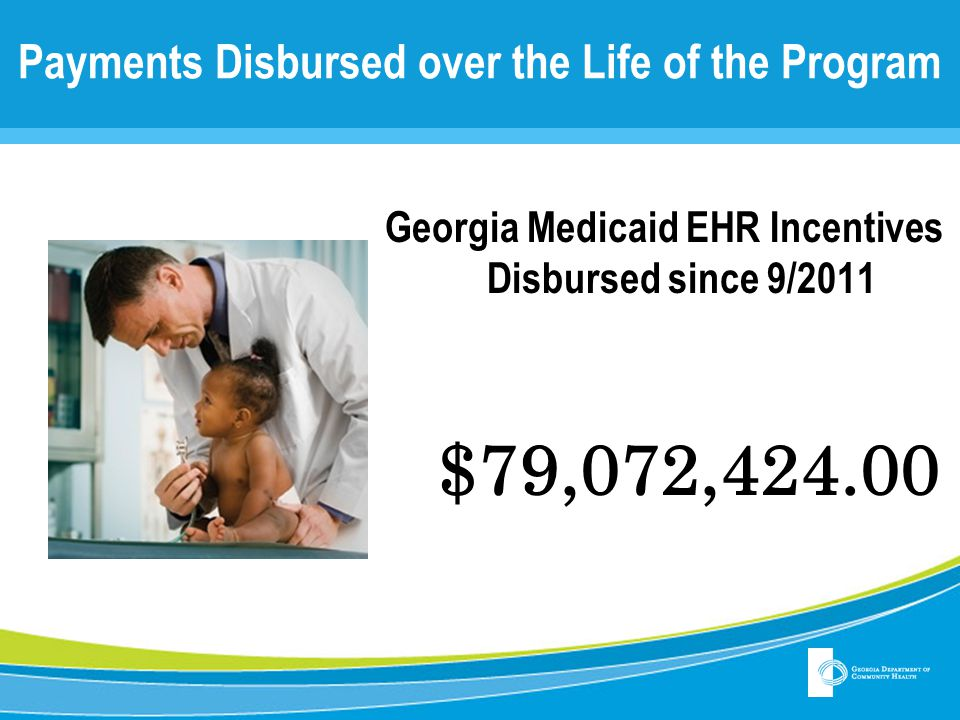 Payments Disbursed over the Life of the Program Georgia Medicaid EHR Incentives Disbursed since 9/2011 $79,072,424.00
