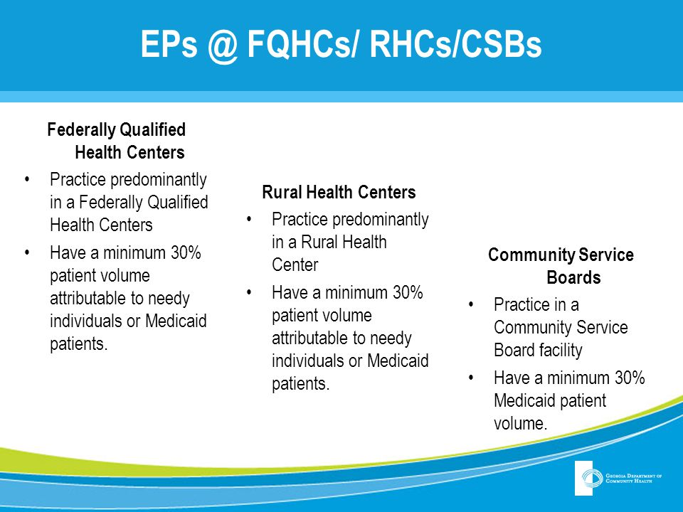 EPs @ FQHCs/ RHCs/CSBs Federally Qualified Health Centers Practice predominantly in a Federally Qualified Health Centers Have a minimum 30% patient vo