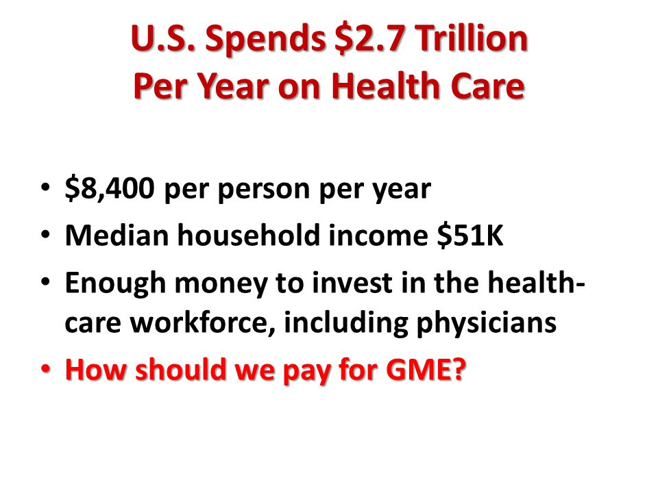 U.S. Spends $2.7 Trillion Per Year on Health Care $8,400 per person per year Median household income $51K Enough money to invest in the health- care w