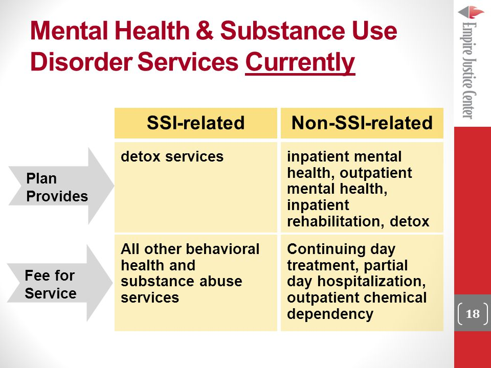 Mental Health & Substance Use Disorder Services Currently 18 SSI-related detox services Non-SSI-related inpatient mental health, outpatient mental health, inpatient rehabilitation, detox Plan Provides All other behavioral health and substance abuse services Continuing day treatment, partial day hospitalization, outpatient chemical dependency Fee for Service