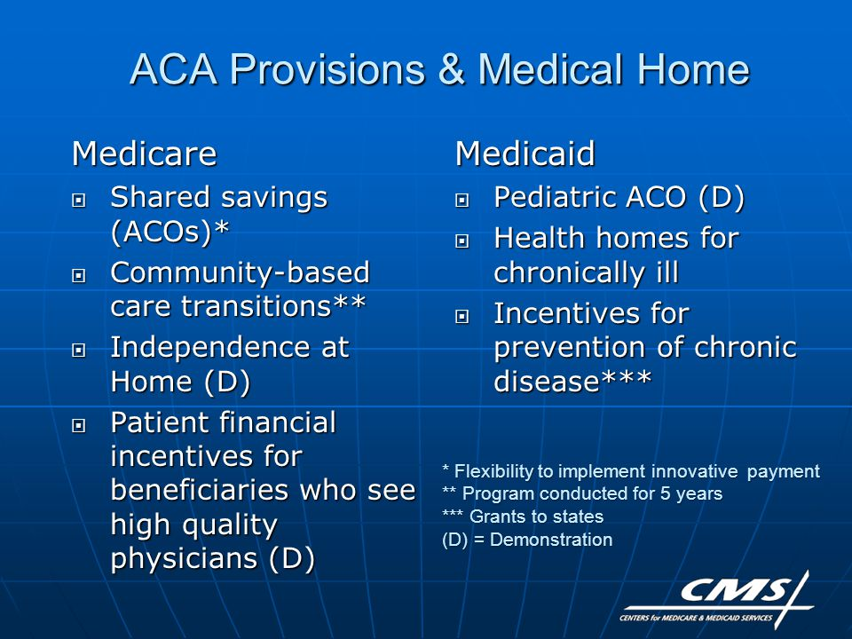 ACA Provisions & Medical Home Medicare  Shared savings (ACOs)*  Community-based care transitions**  Independence at Home (D)  Patient financial incentives for beneficiaries who see high quality physicians (D) Medicaid  Pediatric ACO (D)  Health homes for chronically ill  Incentives for prevention of chronic disease*** * Flexibility to implement innovative payment ** Program conducted for 5 years *** Grants to states (D) = Demonstration