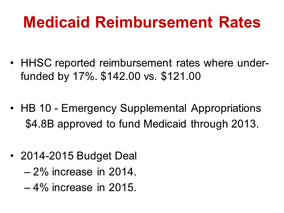 Medicaid Reimbursement Rates HHSC reported reimbursement rates where under- funded by 17%.