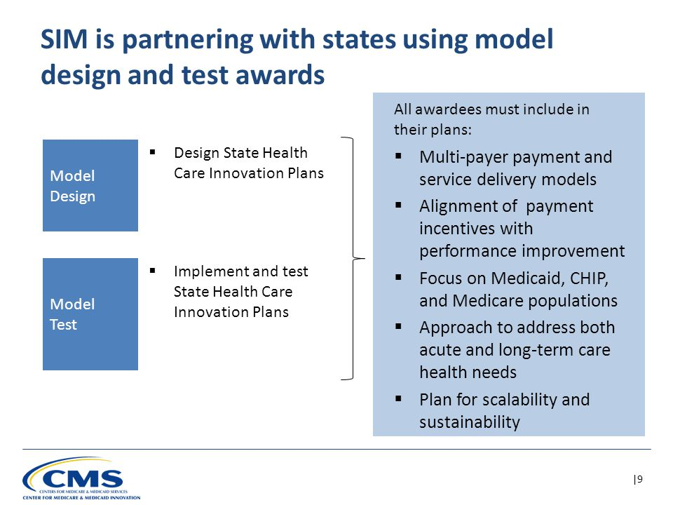 |9 SIM is partnering with states using model design and test awards  Design State Health Care Innovation Plans Model Design  Implement and test State Health Care Innovation Plans Model Test All awardees must include in their plans:  Multi-payer payment and service delivery models  Alignment of payment incentives with performance improvement  Focus on Medicaid, CHIP, and Medicare populations  Approach to address both acute and long-term care health needs  Plan for scalability and sustainability