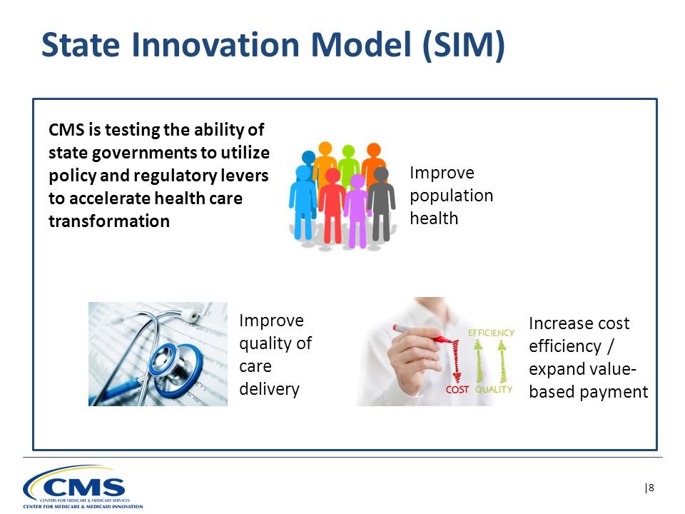 |9 SIM is partnering with states using model design and test awards  Design State Health Care Innovation Plans Model Design  Implement and test State Health Care Innovation Plans Model Test All awardees must include in their plans:  Multi-payer payment and service delivery models  Alignment of payment incentives with performance improvement  Focus on Medicaid, CHIP, and Medicare populations  Approach to address both acute and long-term care health needs  Plan for scalability and sustainability