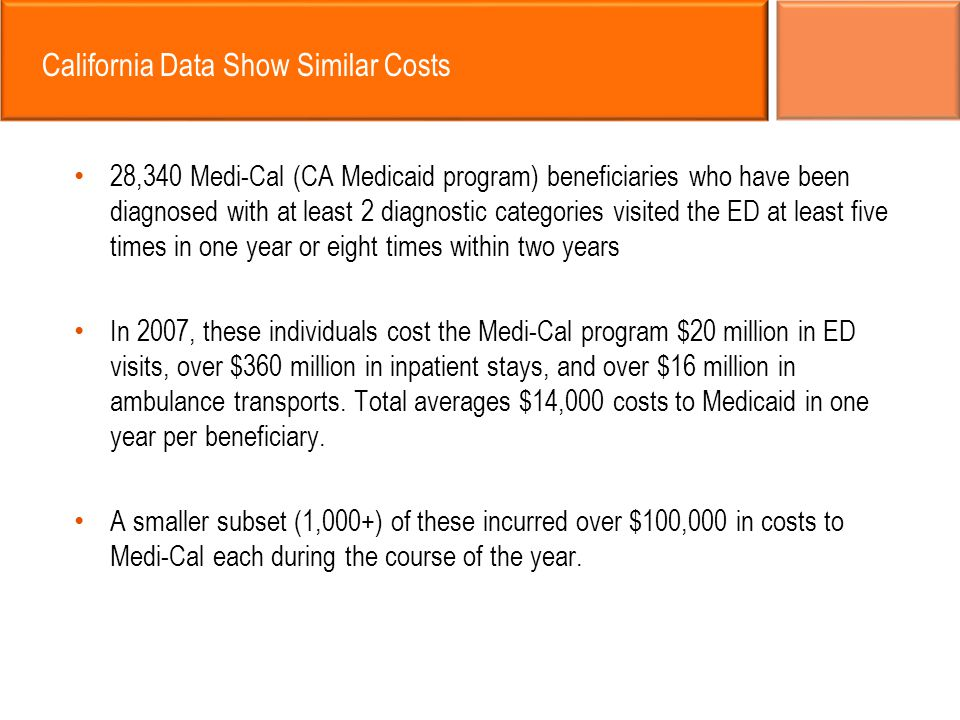 California Data Show Similar Costs 28,340 Medi-Cal (CA Medicaid program) beneficiaries who have been diagnosed with at least 2 diagnostic categories v