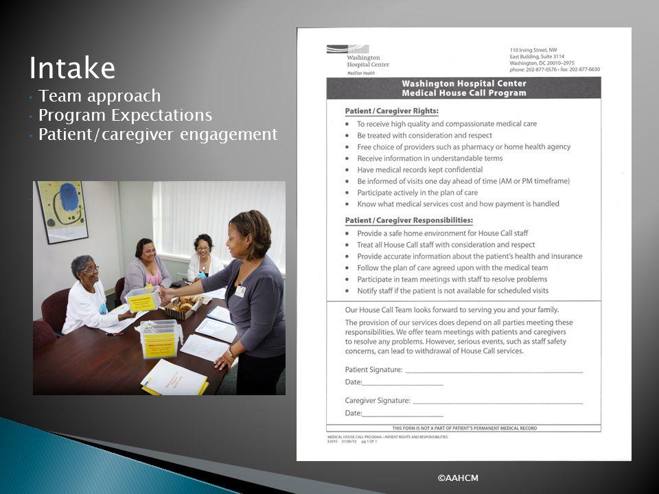 Intake Team approach Program Expectations Patient/caregiver engagement - ©AAHCM