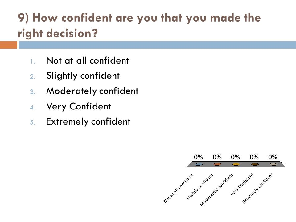 9) How confident are you that you made the right decision.