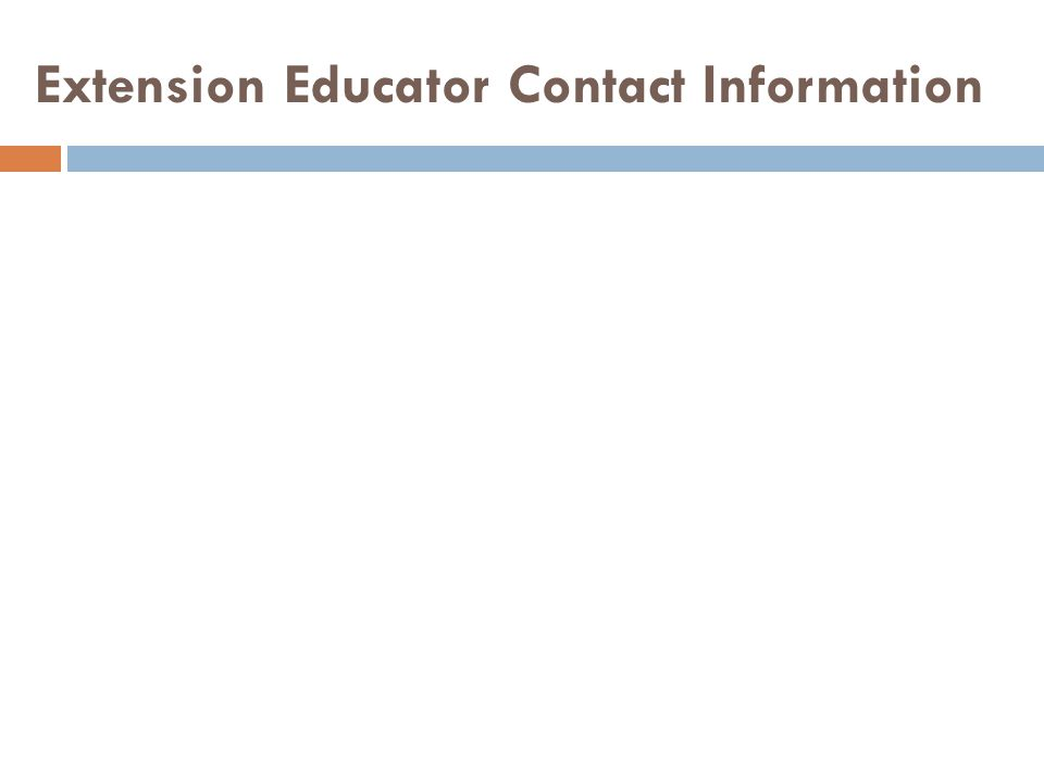Extension Educator Contact Information