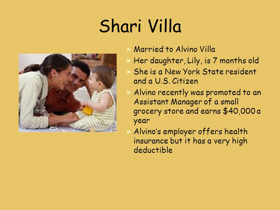 Shari Villa »Married to Alvino Villa »Her daughter, Lily, is 7 months old »She is a New York State resident and a U.S.