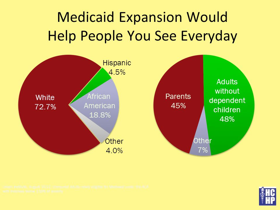Medicaid Expansion Would Help People You See Everyday Urban Institute, August 2012, Uninsured Adults newly eligible for Medicaid under the ACA with Incomes below 138% of poverty White 72.7% Hispanic 4.5% African American 18.8% Other 4.0% Parents 45% Adults without dependent children 48% Other 7%