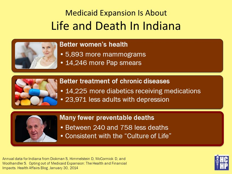 Medicaid Expansion Is About Life and Death In Indiana Annual data for Indiana from Dickman S, Himmelstein D, McCormick D, and Woolhandler S.