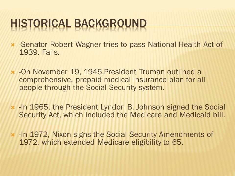  -Senator Robert Wagner tries to pass National Health Act of 1939.