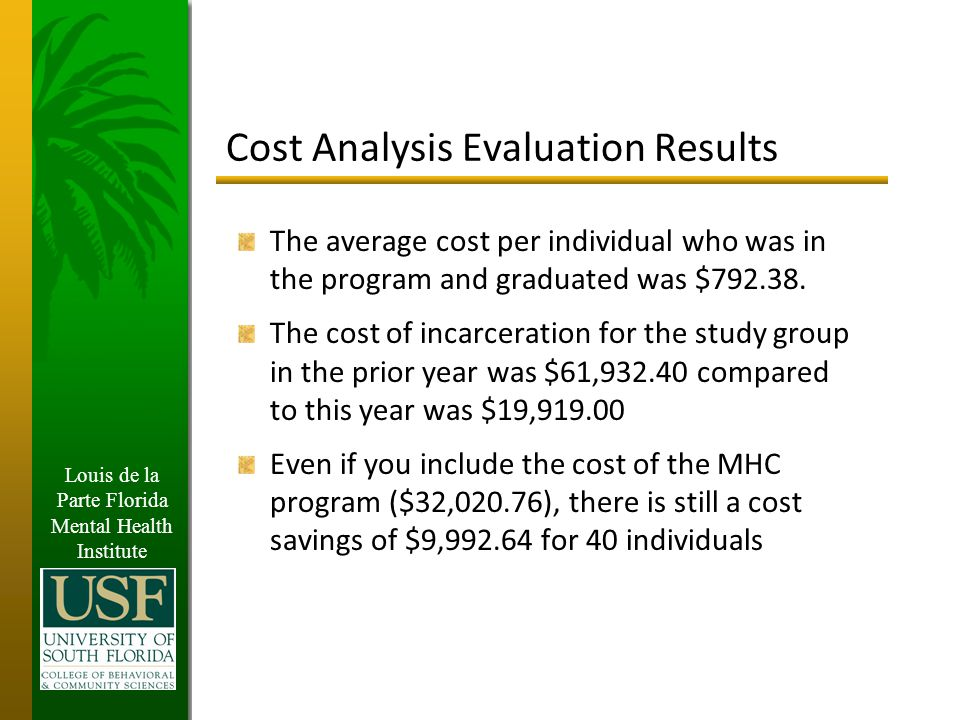 Louis de la Parte Florida Mental Health Institute Cost Analysis Evaluation Results The average cost per individual who was in the program and graduated was $792.38.