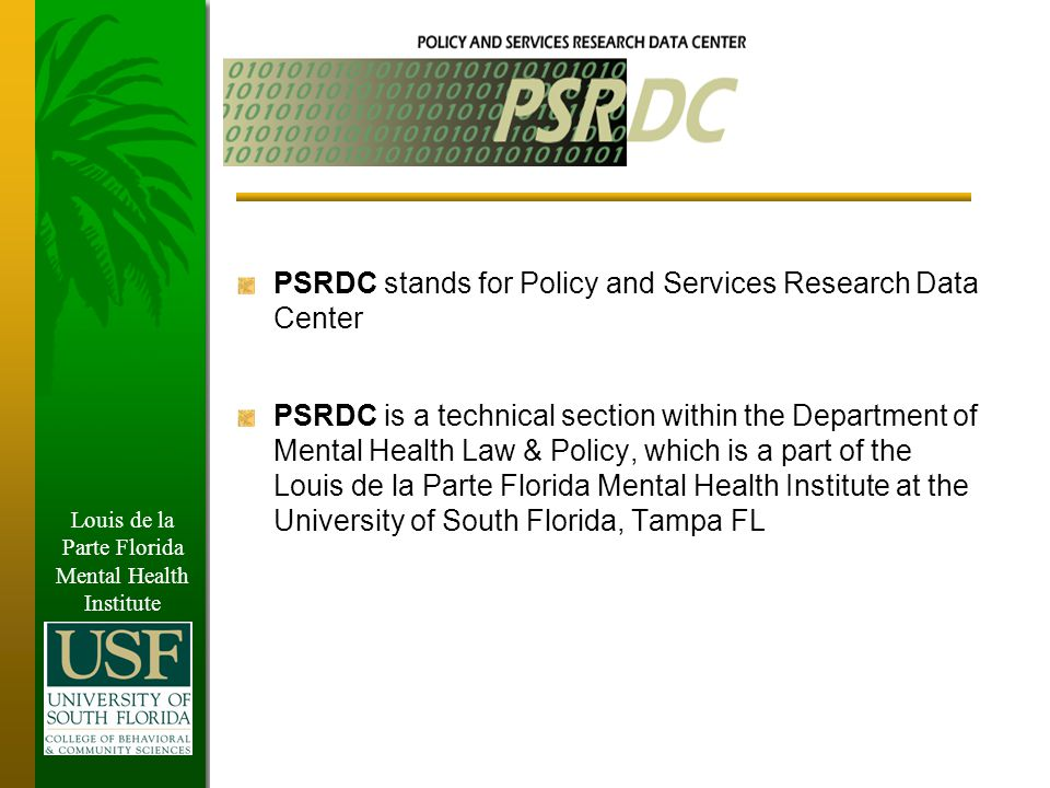 Louis de la Parte Florida Mental Health Institute Outcome Evaluation Results The re-arrest rate for 6 months after the program for those who completed the program was 17% compared to the baseline of 33.9%, and the rate for 12 months after the program was 22% compared to 44.3%.