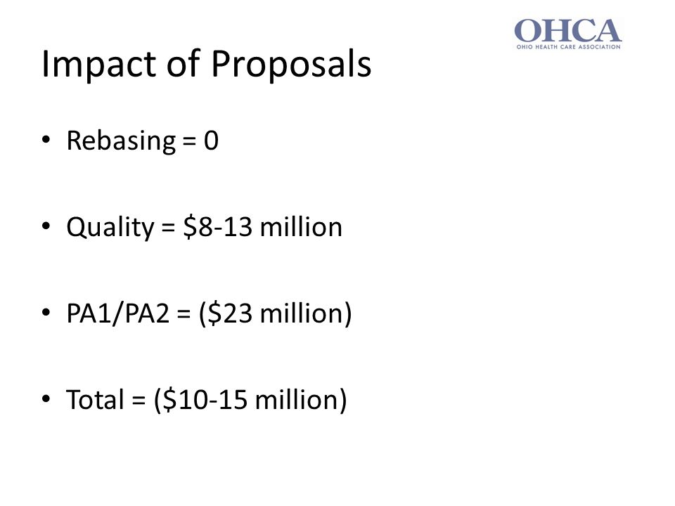 Impact of Proposals Rebasing = 0 Quality = $8-13 million PA1/PA2 = ($23 million) Total = ($10-15 million)