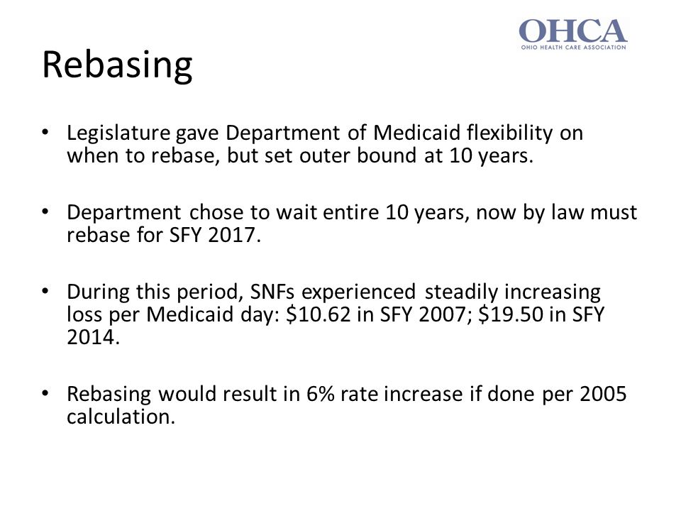 Changes to Rebasing Administration proposes to change 2005 arrangement in three important ways.