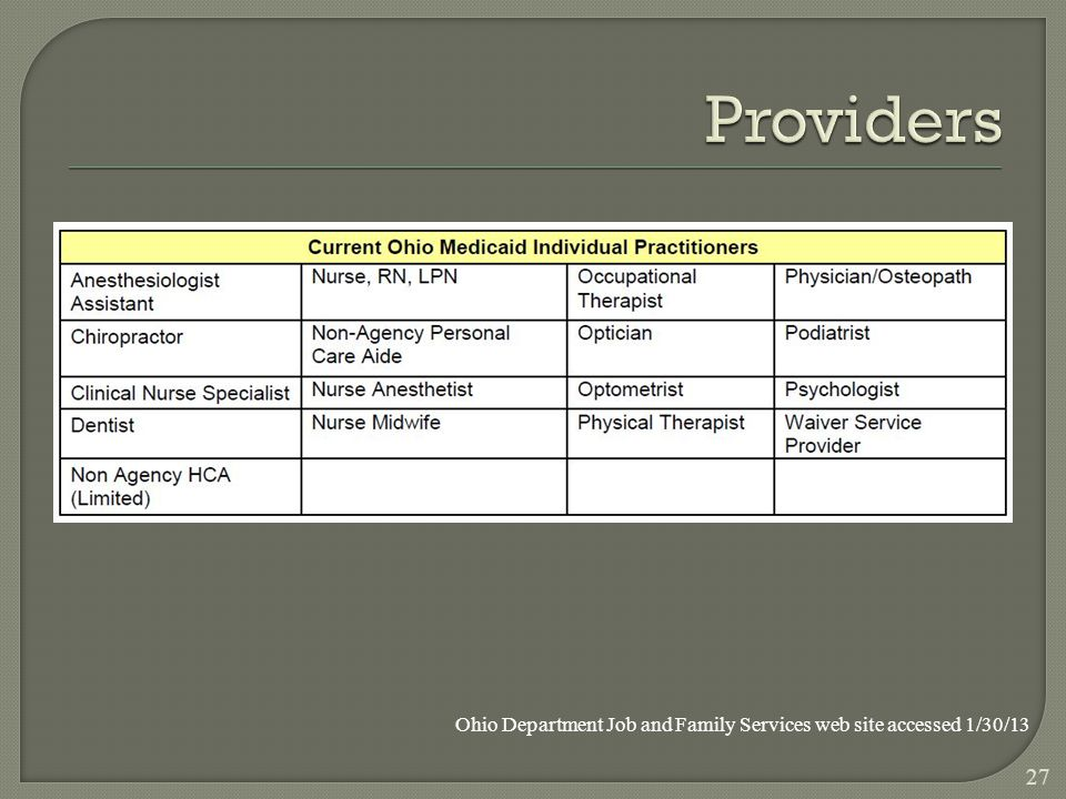 27 Ohio Department Job and Family Services web site accessed 1/30/13