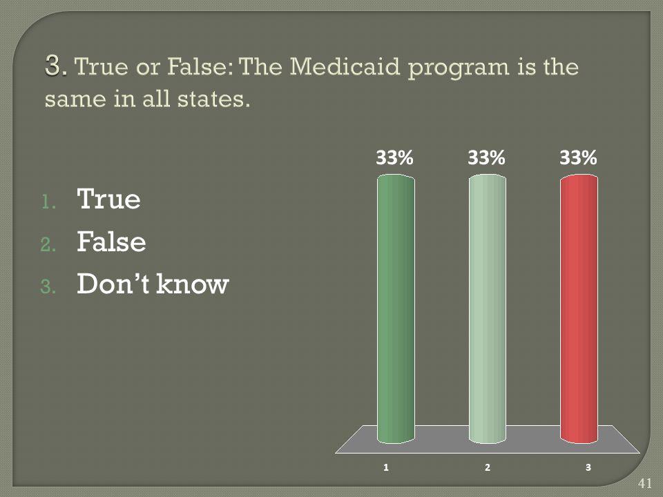 1. True 2. False 3. Don't know 41