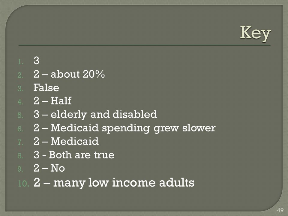 1. 3 2. 2 – about 20% 3. False 4. 2 – Half 5. 3 – elderly and disabled 6.