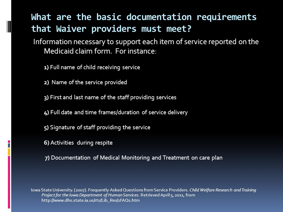 What are the basic documentation requirements that Waiver providers must meet.