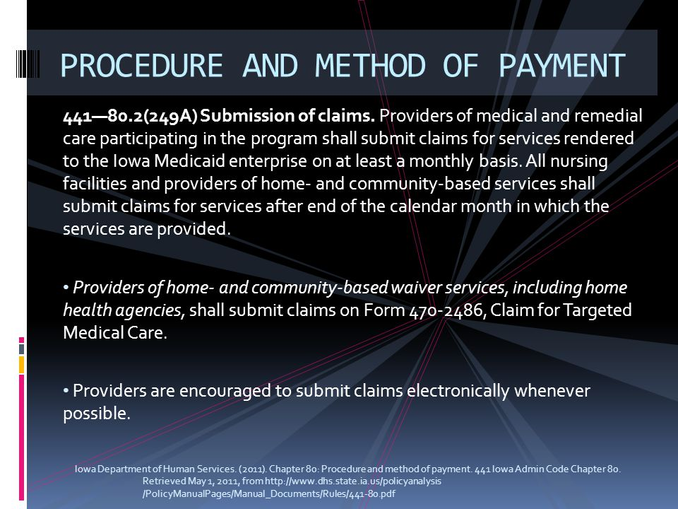 441—80.2(249A) Submission of claims. Providers of medical and remedial care participating in the program shall submit claims for services rendered to
