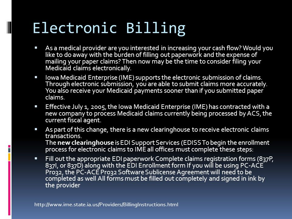 Electronic Billing  As a medical provider are you interested in increasing your cash flow.