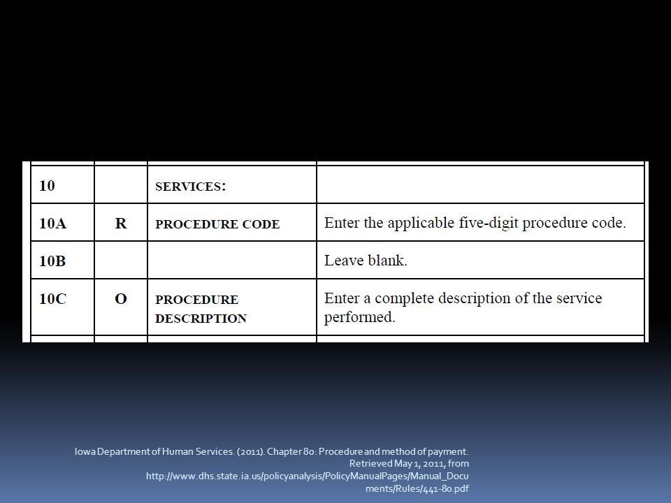 Iowa Department of Human Services. (2011). Chapter 80: Procedure and method of payment. Retrieved May 1, 2011, from http://www.dhs.state.ia.us/policya