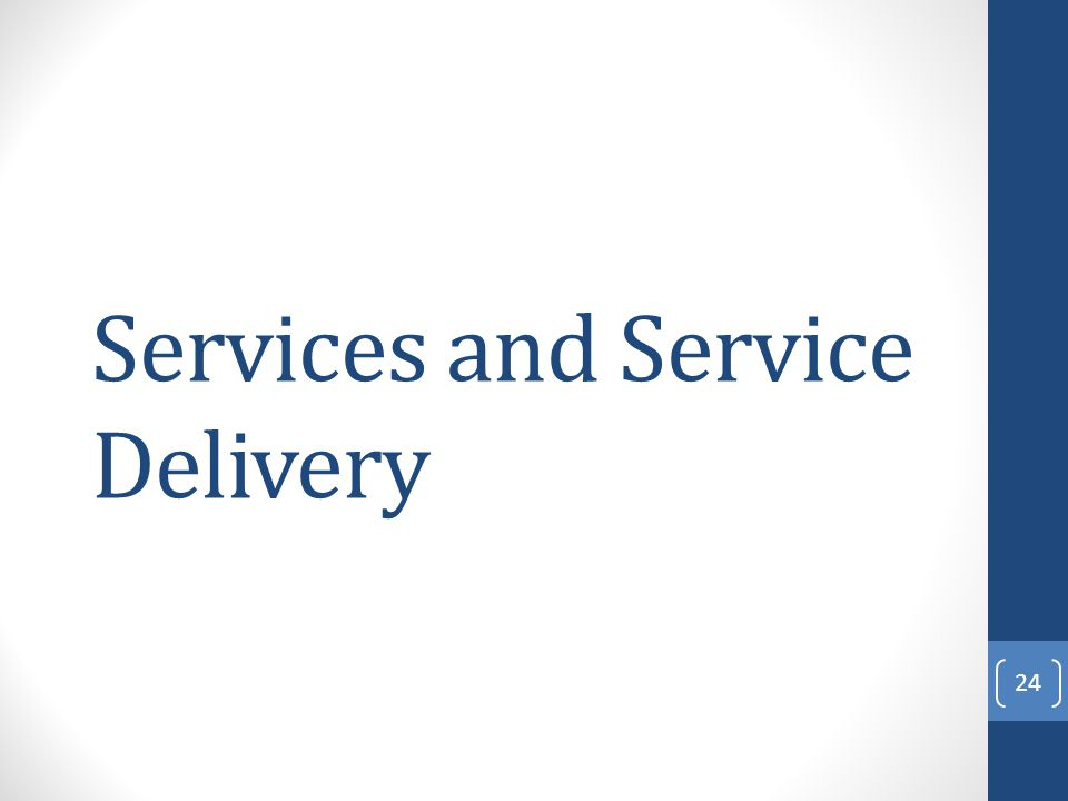Services and Service Delivery 24
