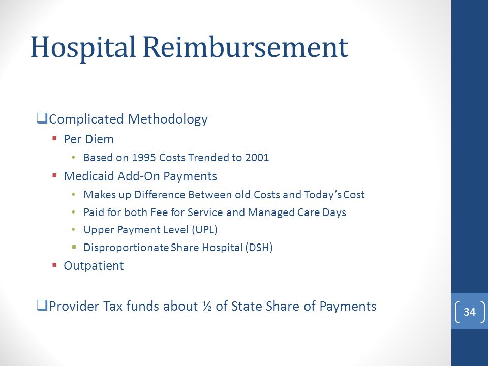 Hospital Reimbursement  Complicated Methodology  Per Diem Based on 1995 Costs Trended to 2001  Medicaid Add-On Payments Makes up Difference Between old Costs and Today's Cost Paid for both Fee for Service and Managed Care Days Upper Payment Level (UPL)  Disproportionate Share Hospital (DSH)  Outpatient  Provider Tax funds about ½ of State Share of Payments 34