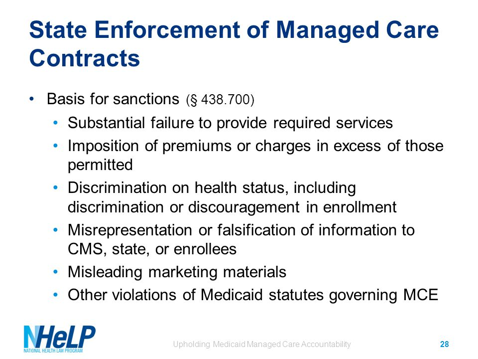State Enforcement of Managed Care Contracts Basis for sanctions (§ 438.700) Substantial failure to provide required services Imposition of premiums or charges in excess of those permitted Discrimination on health status, including discrimination or discouragement in enrollment Misrepresentation or falsification of information to CMS, state, or enrollees Misleading marketing materials Other violations of Medicaid statutes governing MCE Upholding Medicaid Managed Care Accountability28