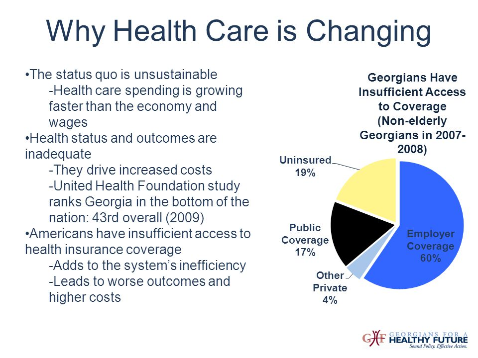 Why Health Care is Changing The status quo is unsustainable -Health care spending is growing faster than the economy and wages Health status and outco