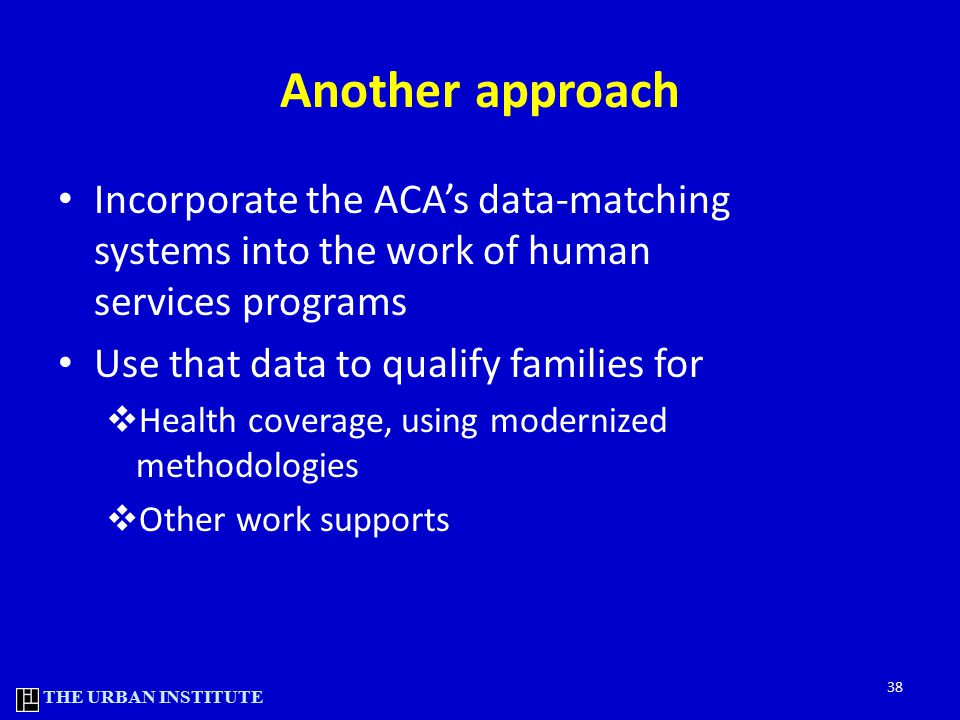 THE URBAN INSTITUTE Another approach Incorporate the ACA's data-matching systems into the work of human services programs Use that data to qualify families for  Health coverage, using modernized methodologies  Other work supports 38