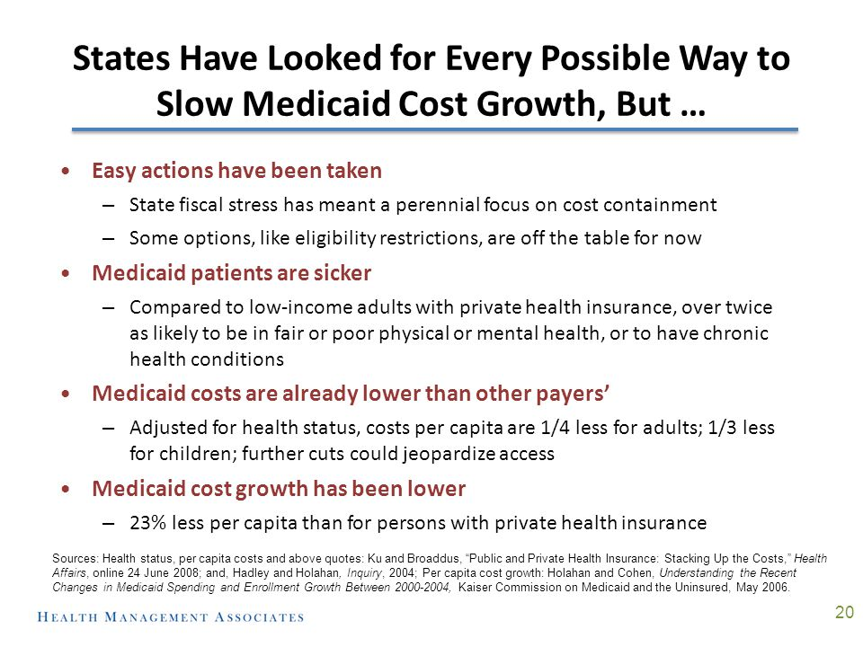 States Have Looked for Every Possible Way to Slow Medicaid Cost Growth, But … 11 Easy actions have been taken – State fiscal stress has meant a perenn