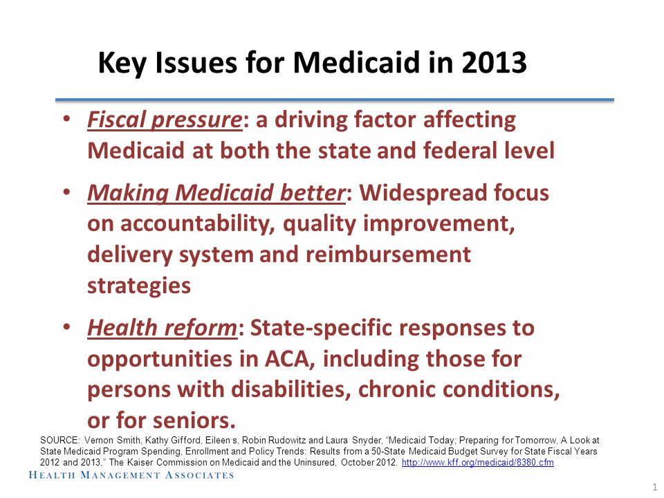 Key Issues for Medicaid in 2013 Fiscal pressure: a driving factor affecting Medicaid at both the state and federal level Making Medicaid better: Widespread focus on accountability, quality improvement, delivery system and reimbursement strategies Health reform: State-specific responses to opportunities in ACA, including those for persons with disabilities, chronic conditions, or for seniors.