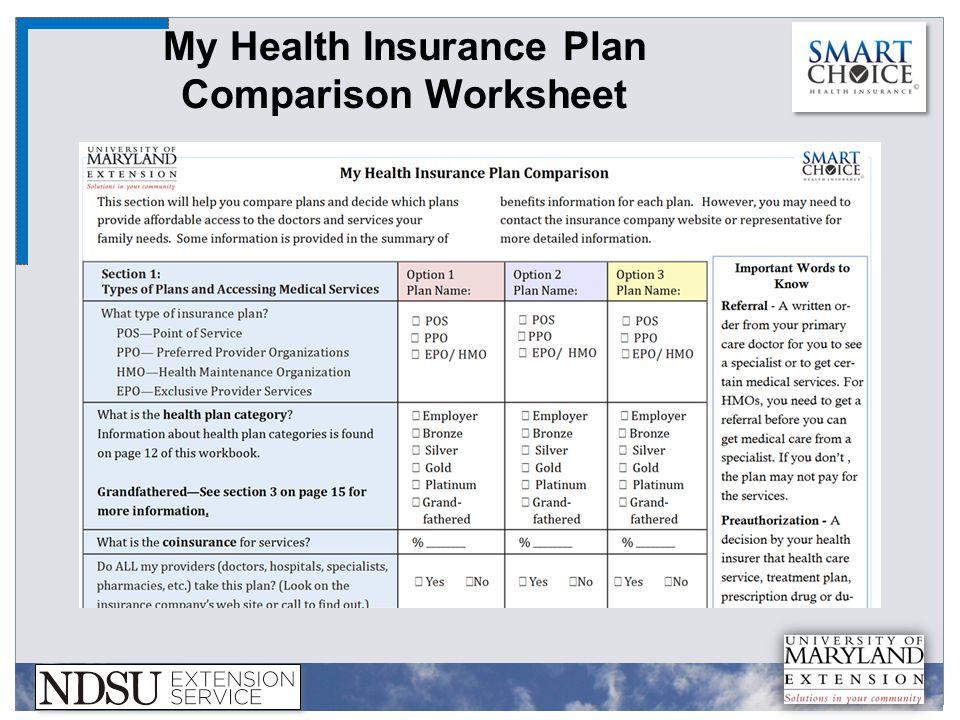 My Health Insurance Plan Comparison Worksheet