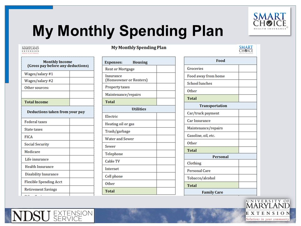My Monthly Spending Plan