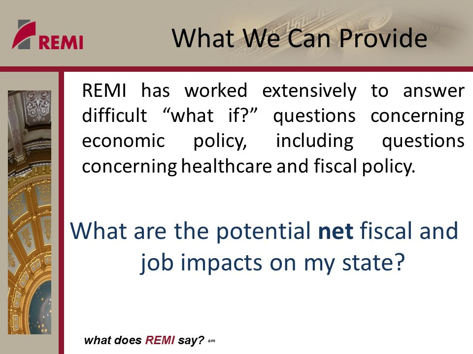 what does REMI say? sm If state opts in