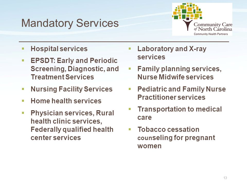 Place logo here Place logo here Mandatory Services  Hospital services  EPSDT: Early and Periodic Screening, Diagnostic, and Treatment Services  Nur