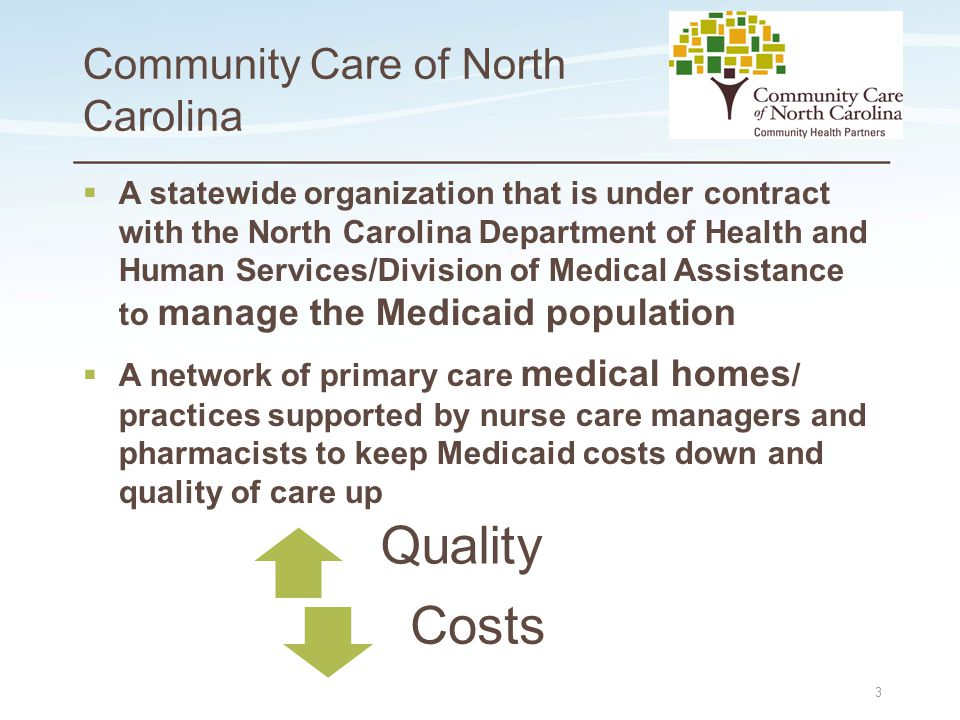Place logo here Place logo here Community Care of North Carolina  A statewide organization that is under contract with the North Carolina Department