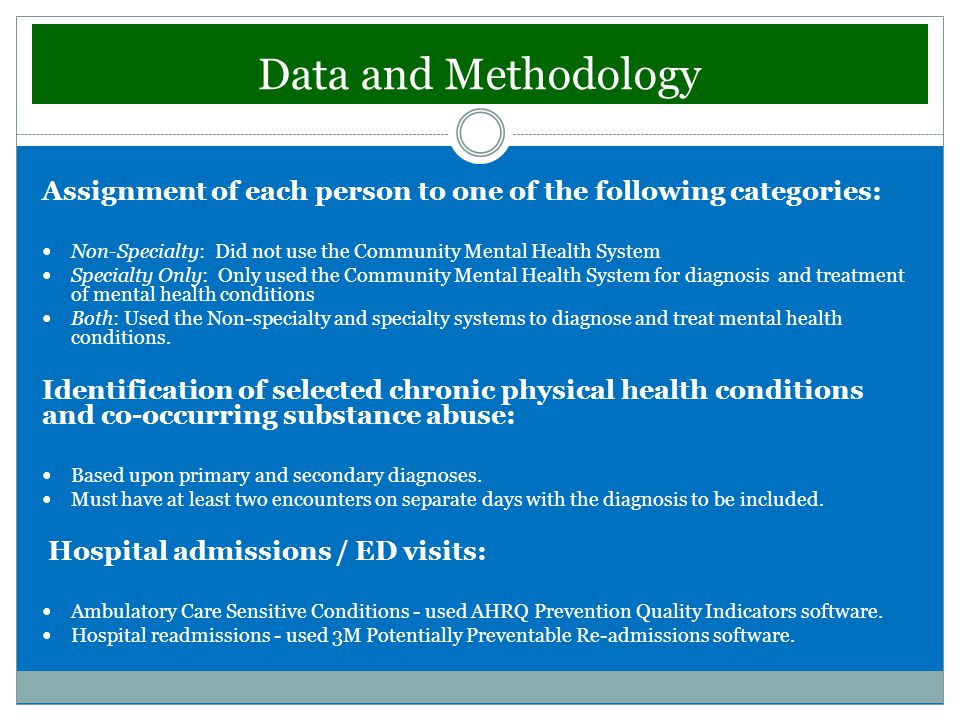 Data and Methodology Assignment of each person to one of the following categories: Non-Specialty: Did not use the Community Mental Health System Specialty Only: Only used the Community Mental Health System for diagnosis and treatment of mental health conditions Both: Used the Non-specialty and specialty systems to diagnose and treat mental health conditions.